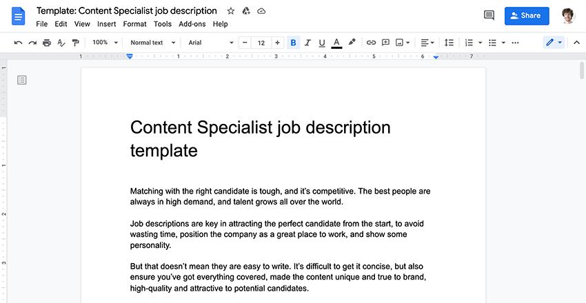 Job template screenshot